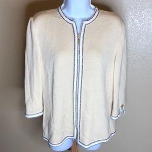 St John collection cream zip knit